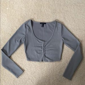 Forever 21 clasp front long-sleeves crop top. New.